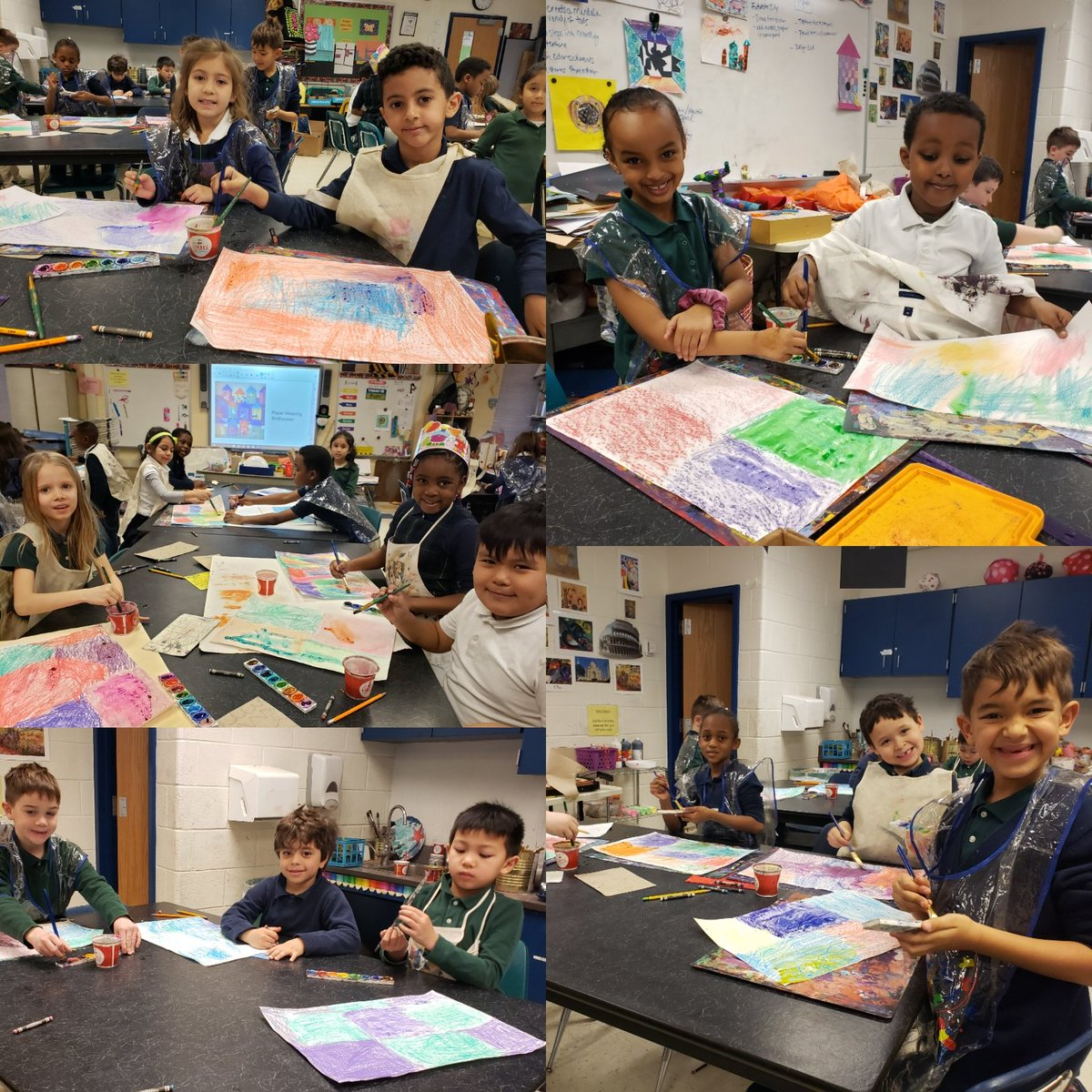 First graders enjoyed painting over their textured backgrounds with watercolors #pbjays #pwcsartspic.twitter.com/eRdNA7SSxm