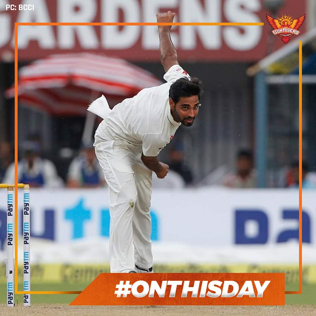 #OnThisDay in 2013, a 23-year old Bhuvneshwar Kumar made his Test debut for  against  in Chennai! #TeamIndia won the 4-match Test series 4-0! #OTD #OrangeArmy @BhuviOfficial pic.twitter.com/foDWlVb5bQ