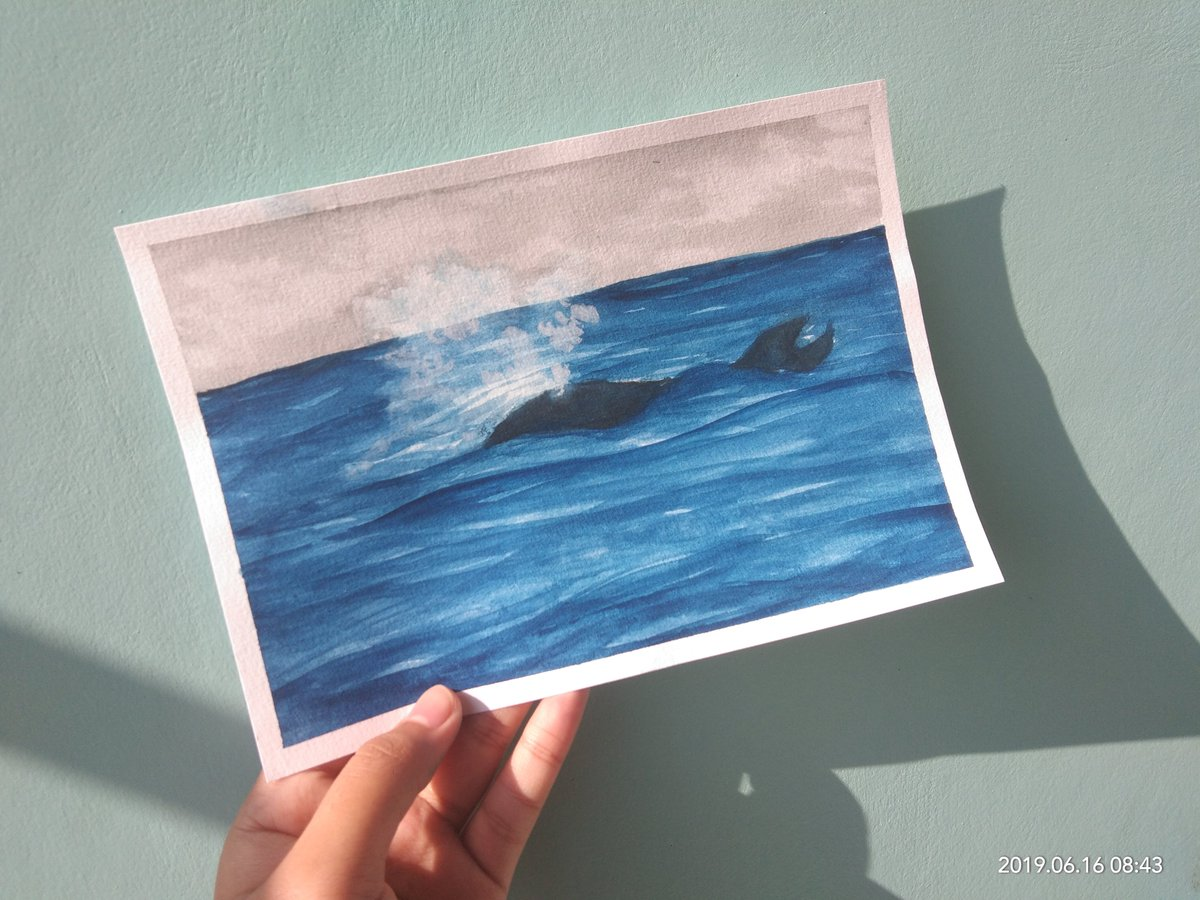 [16-06-2019]  my second watercolor practice.  at first i would like to make a whale, but.. it's more like sardine. . #art #watercolorpainting #watercolor #practice #newbie #sea #painting #drawing #draw #illustration #wave #artshare #artist #nature #landscapepic.twitter.com/yEB6JZUmCf