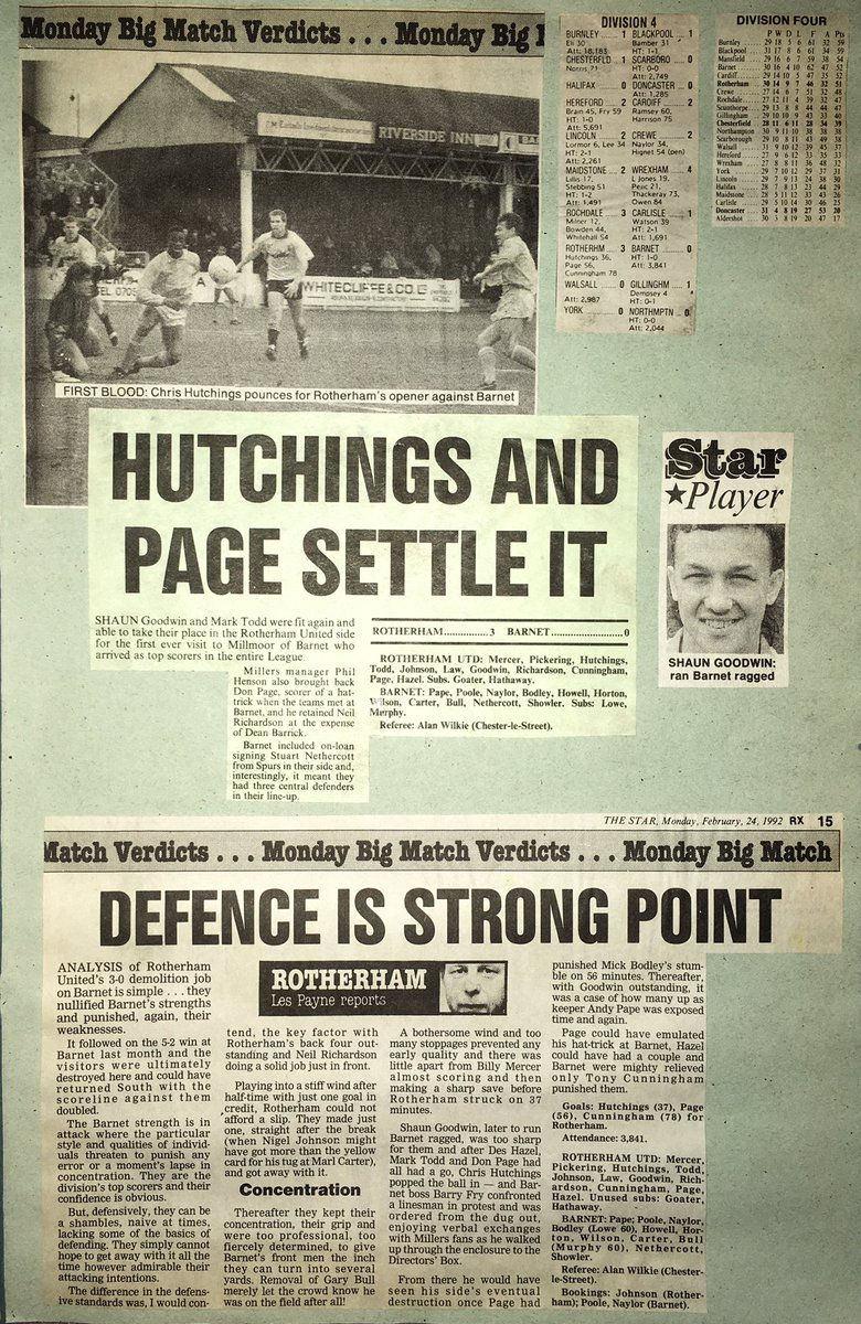 OTD 1992 #rufc 3 Barnet 0... Tony Cunningham,Chris Hutchings & Don Page with the goals at Millmoor. Finished Runners up to Champions Burnley. 22.2.92pic.twitter.com/S5W5rFWJuF