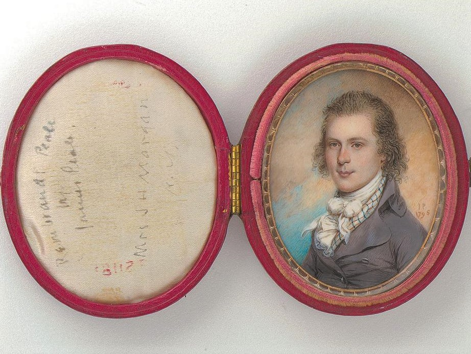 2/2 Rembrandt Peale, born OTD 1778, as a dashing youth in miniature by his uncle James Peale, 1795. They were all painters in that family! pic.twitter.com/ZVWqj1PfQN