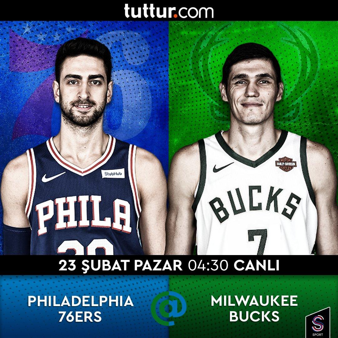 TUTTUR sunar: Milli basketbolcularımızdan #FurkanKorkmaz'ın takımı #Philadelphia76ers'ın, #ErsanIlyasova'nın forma giydiği #MilwaukeeBucks'a konuk olacağı #NBA maçı, 23 Şubat Pazar 04:30'da canlı yayınla S Sport'ta! @tutturpic.twitter.com/u8rtWdRVvx