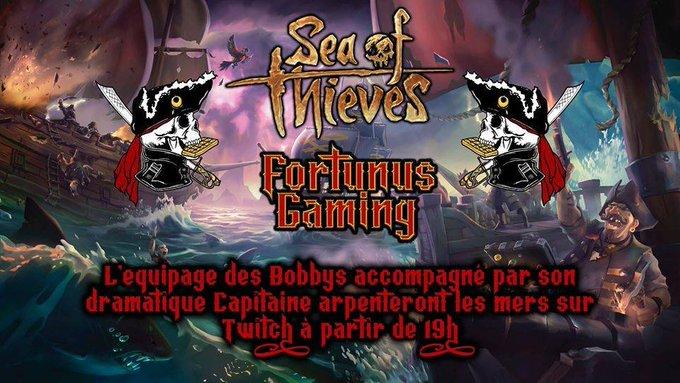 On part en mode #streamer pour un #jeuxvideo qui sent bon la haute mer, #SeaOfThieves sera en #live sur la chaîne #twitch de Fortunus Gaming avec l'équipage des bobbys à 19h !!!  https://twitch.tv/fortunusgaming  @seaofthievesfr1 #PiratesoftheCaribbean #piratesdescaraibes #pirate #piratespic.twitter.com/cKYyxWtiOu