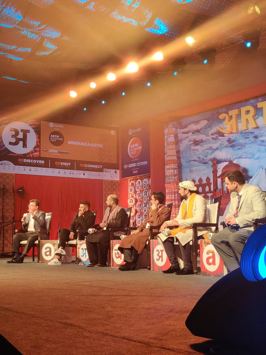 """Our speakers @MPLadakh, @GowharGeelani, @sufimusafir, @ARanganathan72 and @vivekagnihotri in conversation with @Iyervval reflect upon """"The abrogation of Article 370 and what it means to 'Kashmiriyat'"""" at Arth - A Culture Fest."""