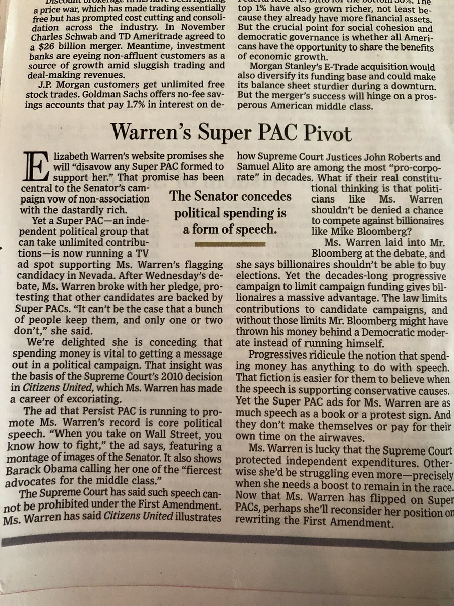 Warren breaks a campaign promise on Super PACs, flipping her long-standing position on #CitizensUnited. via @WSJopinionpic.twitter.com/QUAmatR8lX
