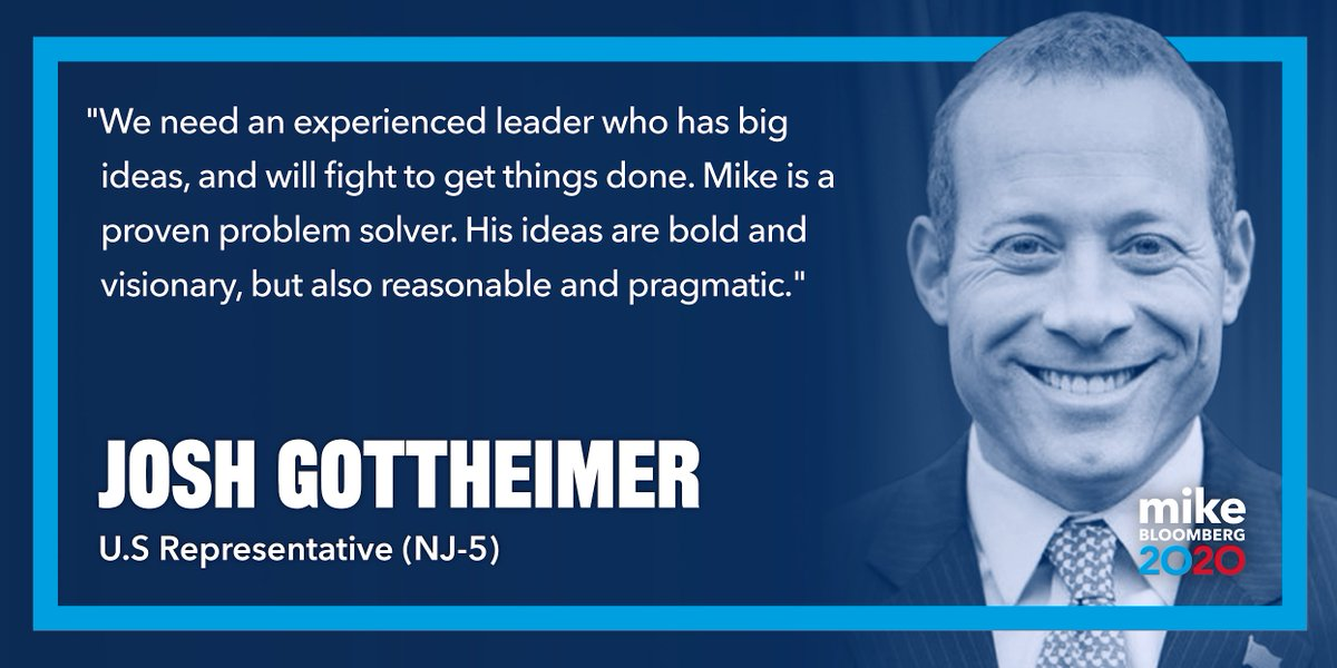 Leadership is about building bridges, uniting people, and finding common ground.  Rep. @JoshGottheimer has worked to break gridlock and find bipartisan solutions to the big challenges we face.  That's what I will do as president, and I'm honored to have his support.