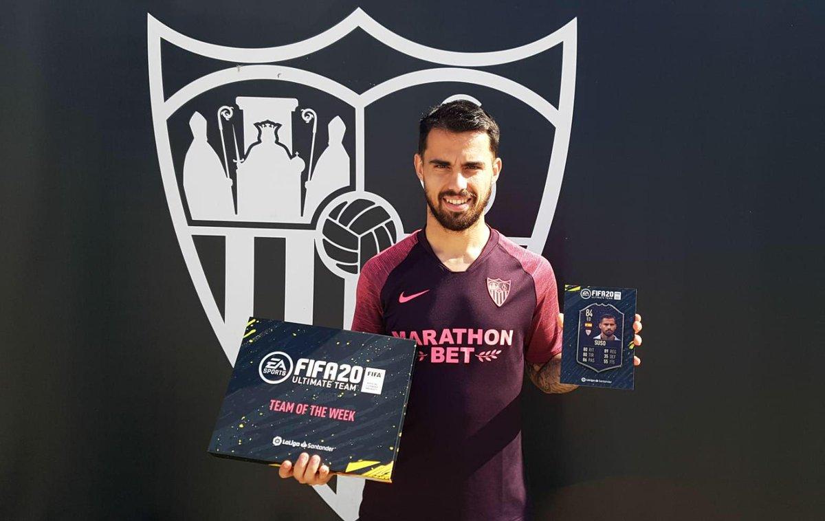 ¡Enhorabuena a @suso30oficial por su primera aparición en el #TOTW de #FIFA20 con la camiseta del #SevillaFC ! #WeareSevillapic.twitter.com/VfpvyNslDA