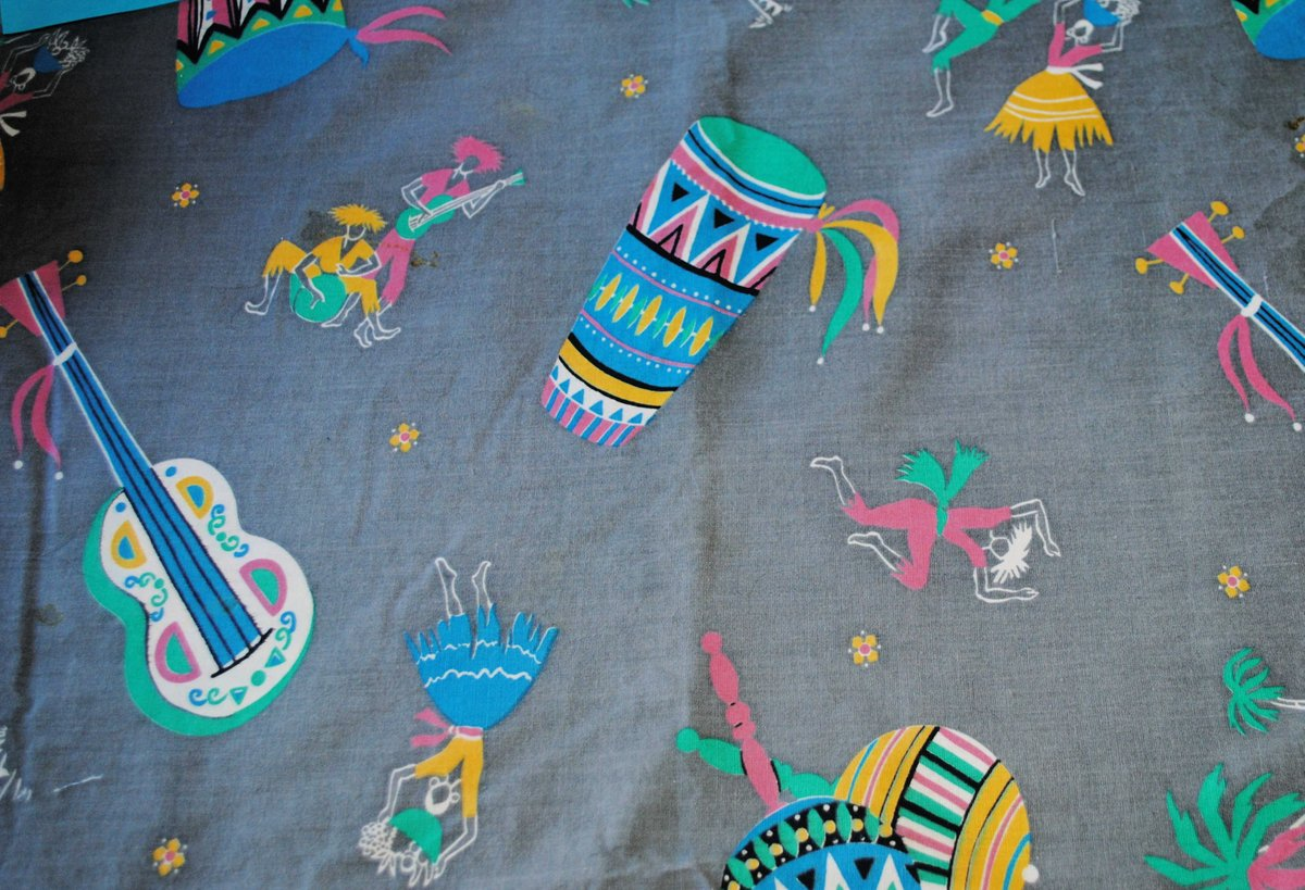 sharing the latest addition to my #etsy shop: Unused, Vintage, Fun FestiveExotic Cotton Print Gray Fabric, with Dancers, Drums, Palm Trees in Pink, Green, Yellow, Sold by the Half Yard  #supplies #cotton #no #geometric #homedecor #pink #