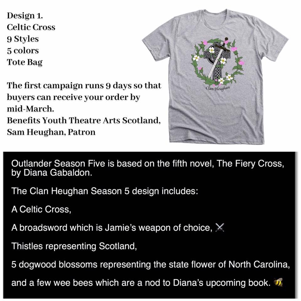 Please support Clan Heughan's T-Shirt campaign & join @SamHeughan #YTASPatron to support @YTArtsScot with 3 great designs including our tribute to Season 5! ❤️  To buy today, visit our @Bonfire store     @avecliberte @GHJNancy @Sheugs @lorikuhns @summerpic