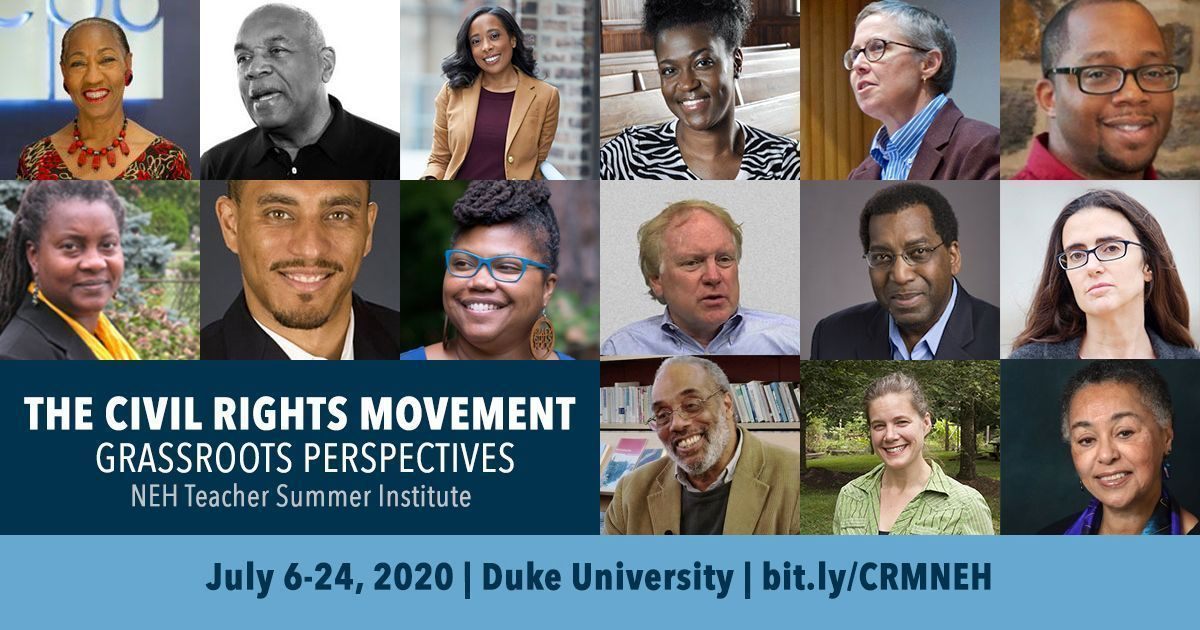 """#APPLY: @NEHgov Teacher Institute """"The Civil Rights Movement: Grassroots Perspectives"""" will be hosted during Summer 2020 at @DukeU by CDS, @teachingchange, and @snccdigital! For teachers/school librarians in *GRADES 5–12.* DEADLINE MAR. 1!  APPLY NOW https://buff.ly/2ZDwjJypic.twitter.com/Hnd1MgYWpT"""