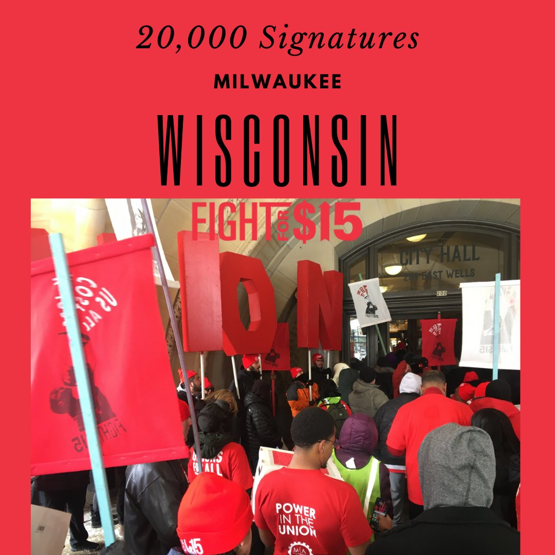 In 10 degree weather, Milwaukee #FightFor15 supporters marched on City Hall last week to deliver 20,000 petition signatures calling for the Common Council to take action on $15 and union rights for all! pic.twitter.com/ckhjpFj79R