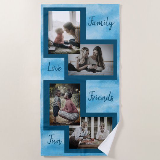 Baby Blue Texture Photo Collage Beach Towel This lovely baby blue paper texture design is a perfect backdrop for your family photos. This beach towel features a photo collage layout and inspirational words #summer #beach #gift #photocollage #fun