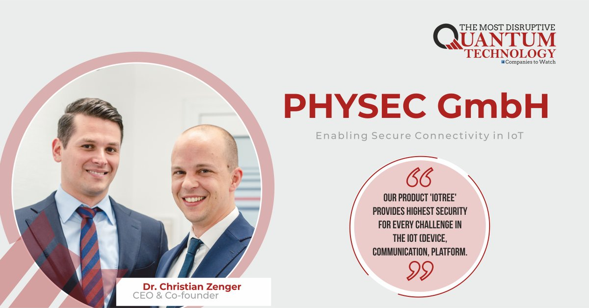 #DrChristianZenger CEO of @PHYSECGmbH The start-up offers #IoTsecuritysolutions based on groundbreaking #technologyinnovation #PhysicalLayerSecurity which allows for new ways of protecting #IoTsystems #TechnologyCompany #cybercrime #DataSecuritySolutions  http://bit.ly/2SFNZlY pic.twitter.com/bVoCW4M32N