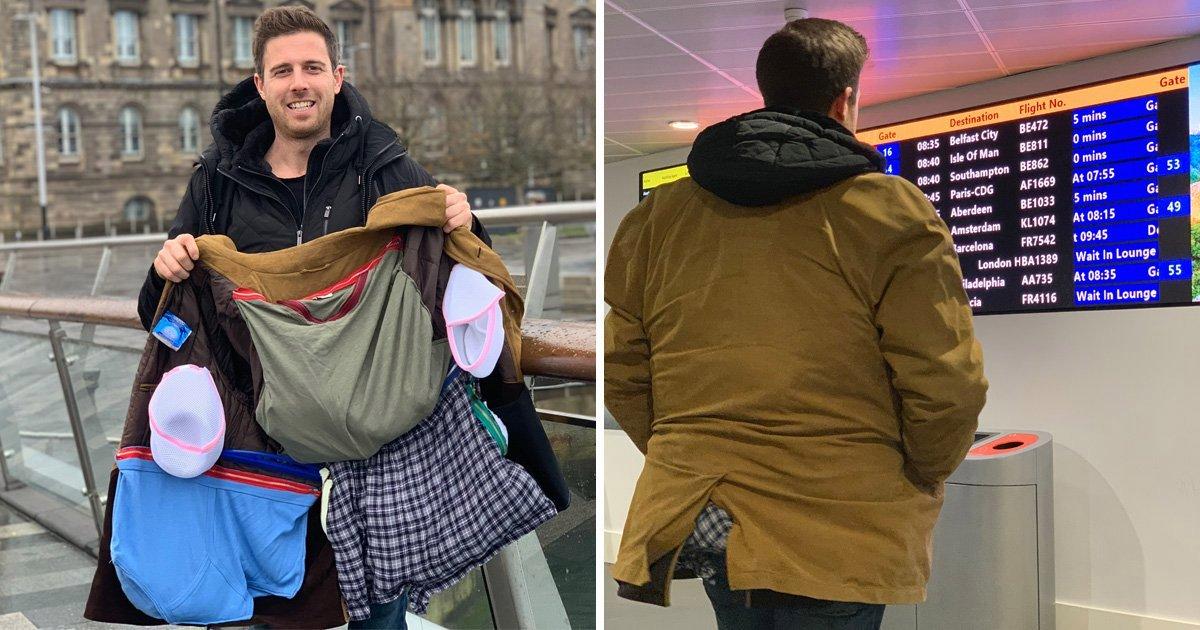 「衣類ポケット内の物品は、飛行機の手荷物サイズ制限の対象外」というバグを突いた、