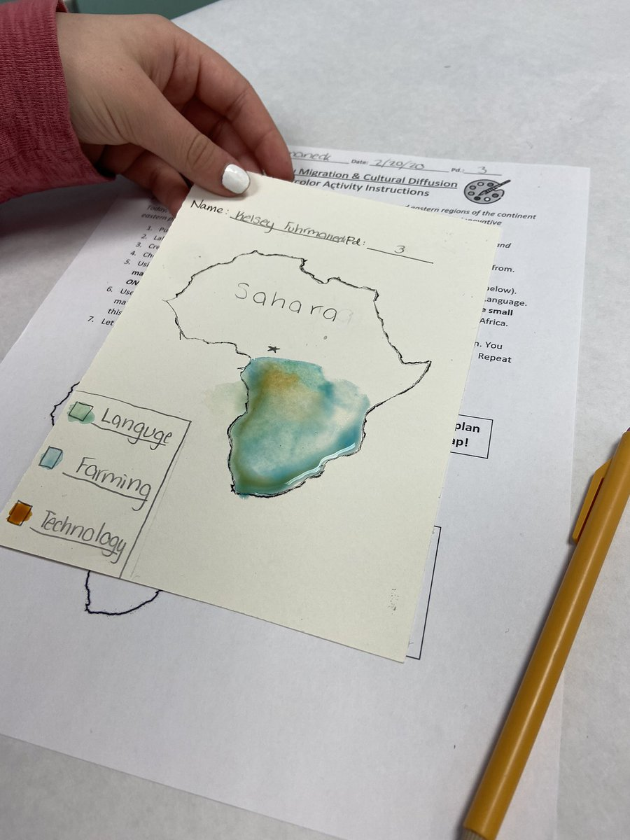 It's been a thrilling week for our 6th grade social studies learners as they embarked on their journey of learning about the Bantu Migration. Students learned cultural diffusion by using the artists wet-on-wet technique to create their migration maps of Africa!#AACPSback2Awesomepic.twitter.com/bi2vqAMFrM