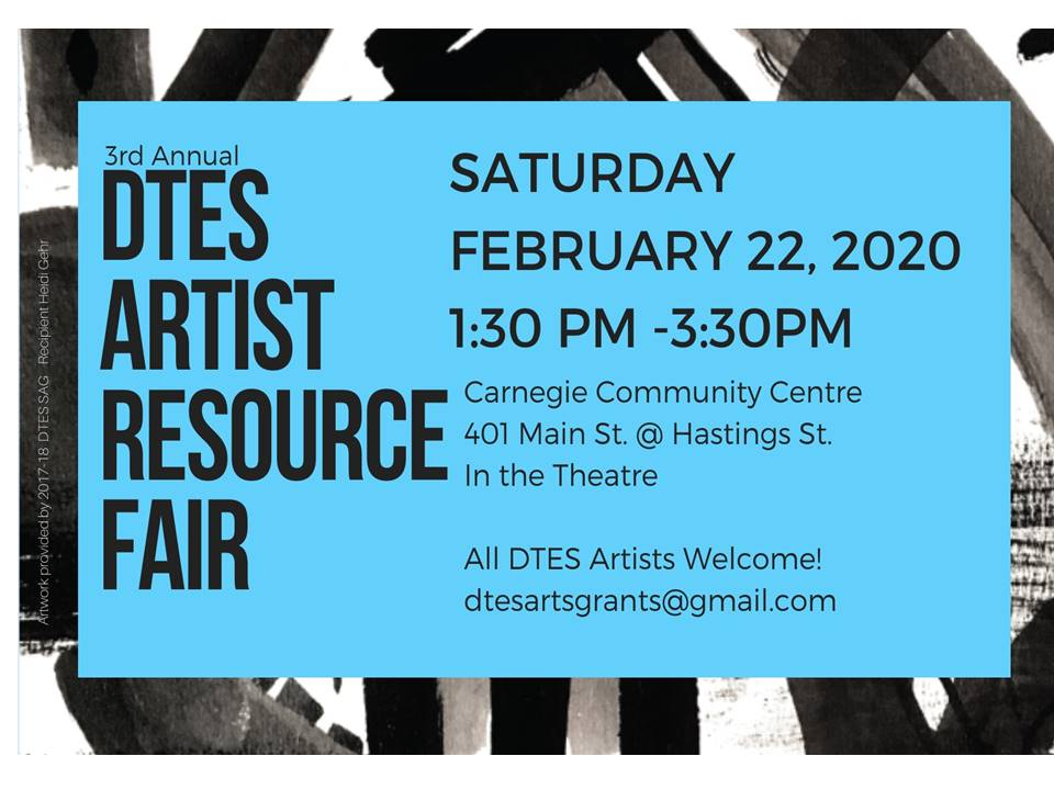 We'll be on site today at the DTES Artist Resource Fair encouraging and assisting new artists to be part of two programs, our Busker program for musicians and performers, and public art program for our new street banners. pic.twitter.com/dqFrwG1ntE