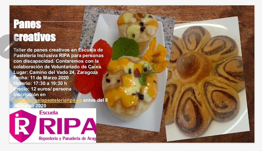 Abierta inscripción para el Taller de #panescreativos para personas con discapacidad. #voluntariado #inclusion #creatividad #Diversion #autonomiapersonal #Zaragoza #Aragon @FundlaCaixa @caixabank @Fundacion_ONCE @Yacarandar @FLaCaridadZgZpic.twitter.com/AI2gI5fc6B
