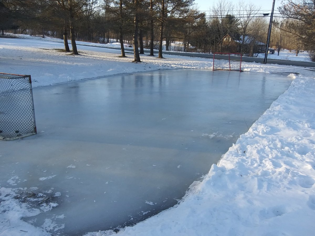 Playing hockey on this pond