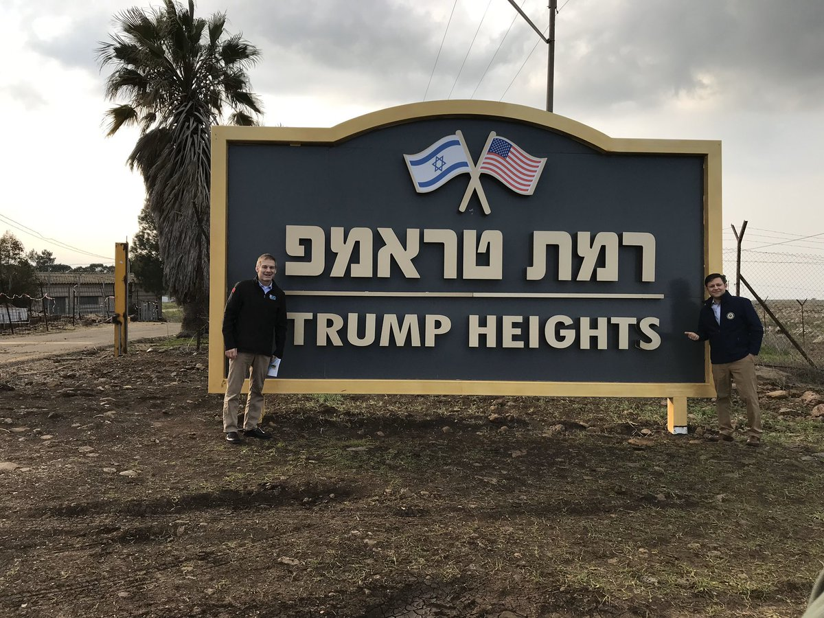 President Trump has been a great friend to Israel:  -Out of the Iran deal -Embassy in Jerusalem -Recognition of the Golan Heights -Mid-East peace plan  And the State of Israel sure appreciates it.