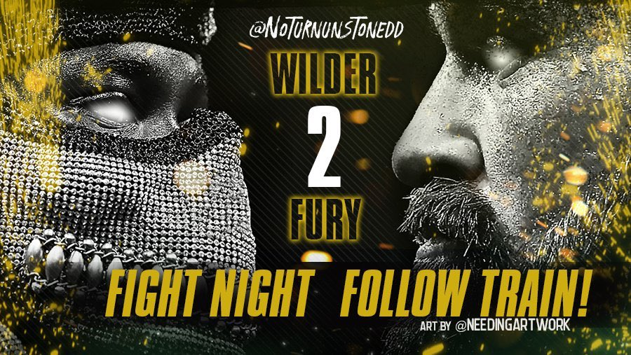 #FuryWilder2 FIGHT NIGHT FOLLOW TRAIN!!🔥💯   1. RETWEET & LIKE this Post. 2. Follow all fans that RT/Like. 3. Drop your fight prediction in the thread. 4. Watch your following grow & connect with new fans!👊🏻  #Boxing 🥊 #FightNightFollowTrain🚆 Art by: @needingartwork https://t.co/gPBVKHYtJs