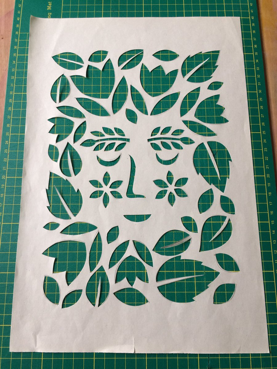 Working on a new example ready for my #screenprint #workshop @rbsagallery on Monday. It's supposed to be a wood nymph but my #stencil cutting needs practice... it's been a while since I've used a scalpel!pic.twitter.com/OoQnHD10cV