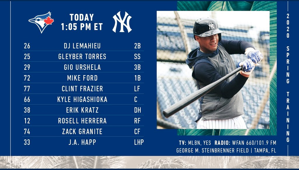 Yankees first spring training game vs Blue Jays starts in a little over an hour...which of the starters in today's lineup are you most excited to see? #SaturdayThoughts #yankees #YankeesTwitter #MLB