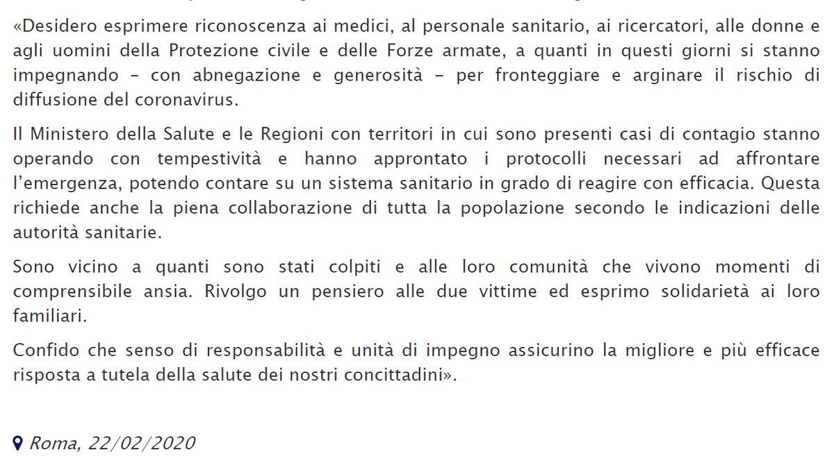 RT @Quirinale: #coronavirus, la dichiarazione del ...