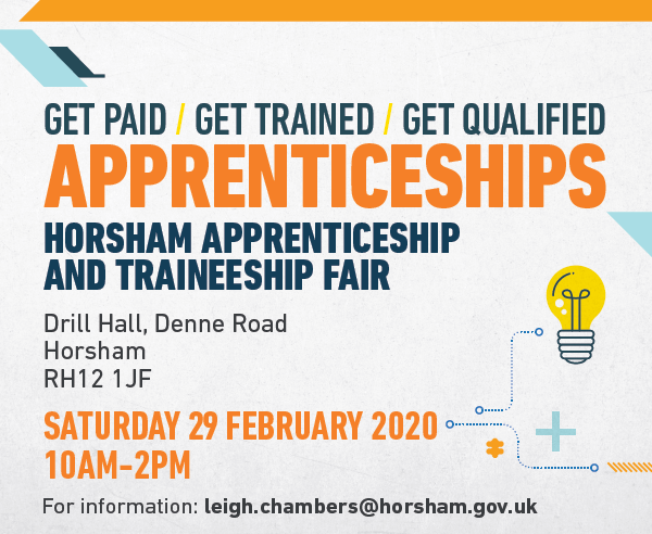 Apprenticeships are available to anyone regardless of age or experience. Find out more at our Apprenticeship Fair in Horsham on 29 Feb, there's more information on our website .