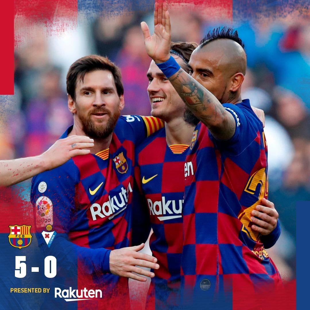 ⏰ Final del partit! ⚔ Barça 5-0 Eibar ⚽ #Messi (x4) i @arthurhromelo  💪 Som-hi, Barça! 🔵🔴 #BarçaEibar