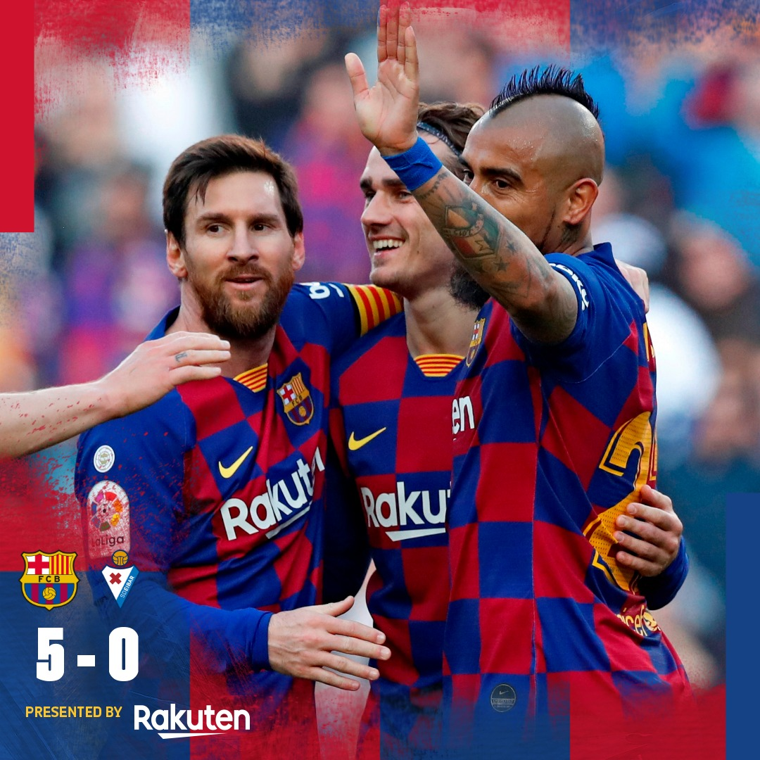 ⏱ Fim de jogo: goleada no Camp Nou! 🙌 ⚽️ #BarçaEibar 5️⃣-0️⃣ 👟 #Messi (x4) e @arthurhromelo 🎉 🏆 @LaLigaBRA   👊 Vaaaaleu Baaarça! 🔵🔴