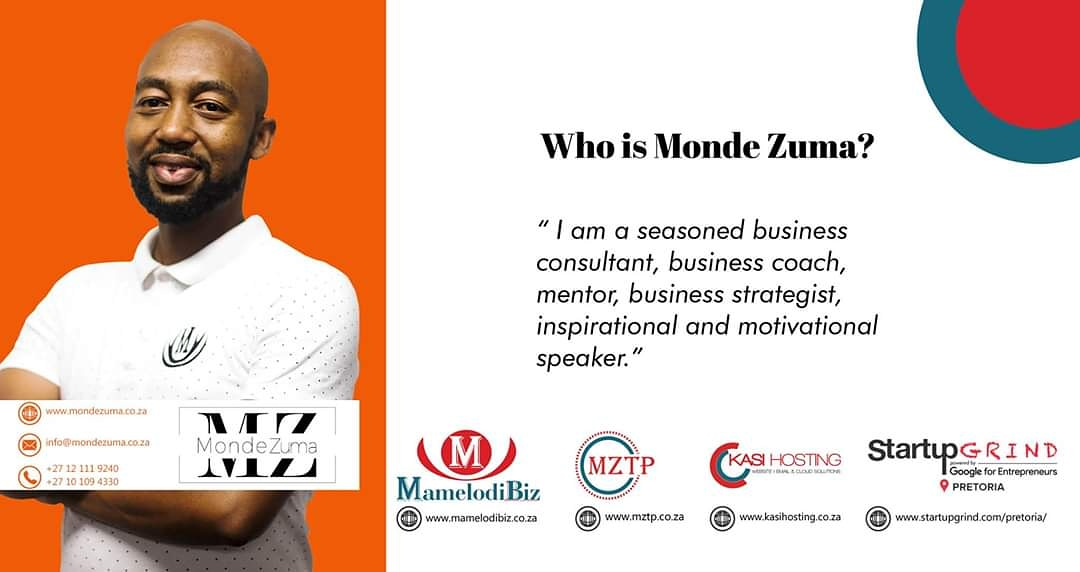 Follow #MondeZuma the Business Consultant, Business Coach, Business Strategist, Mentor on all Social Media Platforms to get more business hacks, insights, tips and advice.  http://www.mondezuma.co.za  #BusinessConsultant #BusinessCoach #mentor #BusinessStrategistpic.twitter.com/z1rZaz8BRw