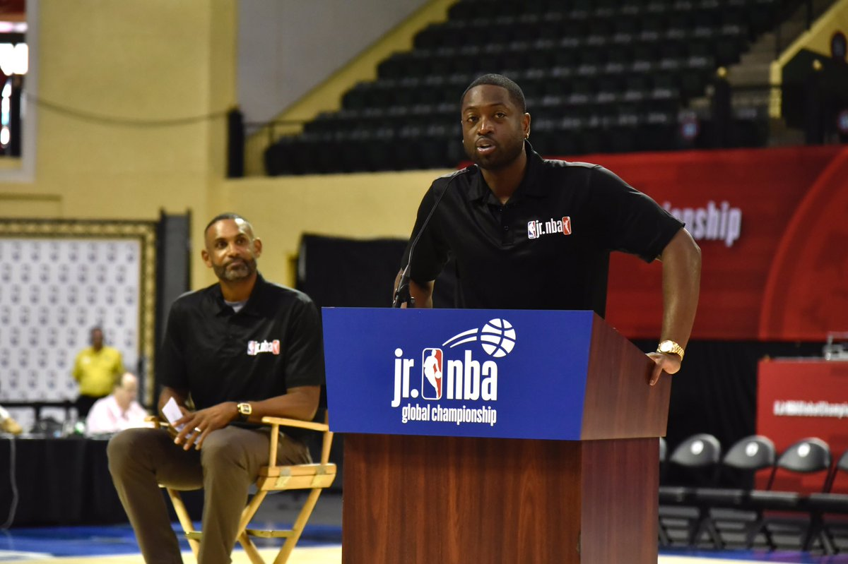 Congratulations to our #JrNBAGlobalChampionship ambassador @DwyaneWade on his jersey retirement this weekend! A true legend on and off the court! 🙌