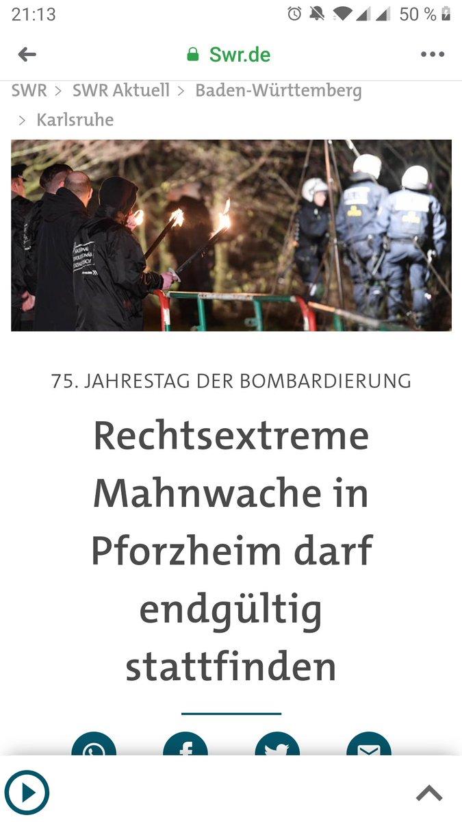 Die Nazis dürfen in #Pforzheim definitiv ihre alljährliche Geschichtsverdrehung abhalten hat das VGH in Mannheim entschieden. Das heißt für uns: Morgen alle nach Pforzheim auf die Straße! Gemeinsame Anreise aus #Karlsruhe 17 Uhr Kronenplatz! #Keinfußbreit! #fcknzspic.twitter.com/LQXOdm7eQo