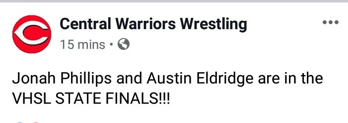 Two Central Warrior Wrestlers on to the Finals!!!!