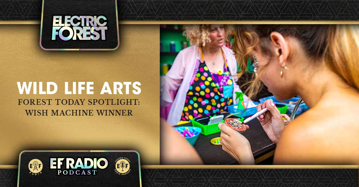 This week on the @EForestRadio Podcast, we chat with 2019 #EFWishMachine Winner Uma about her #MontanaWildLifeArts project and workshop at The Brainery during #EF2019. #PlugInToEF    Tune In & Subscribe: http://ElectricForestFestival.com/podcast/forest-today-spotlight-wild-life-arts-2019-wish-machine-winner/ …   Submit A Wish: http://ElectricForestFestival.com/wish pic.twitter.com/kqH9XIOY8o