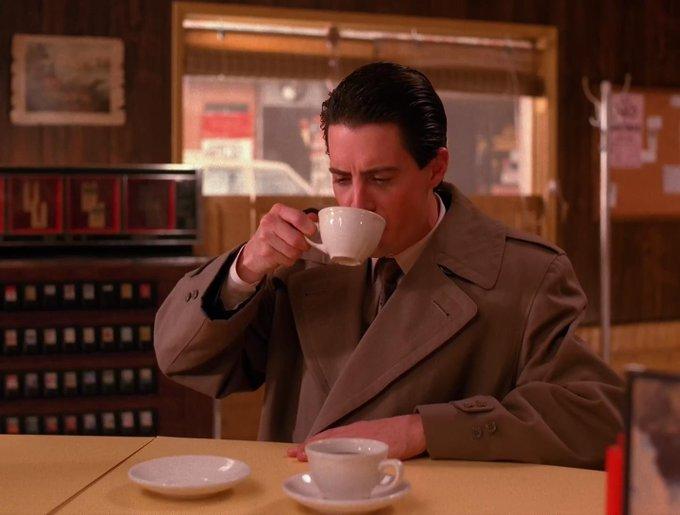 "Coffee. Cherry Pie. \""I am the FBI\"". Hellooooo and happy birthday, Special Agent Dale Cooper"