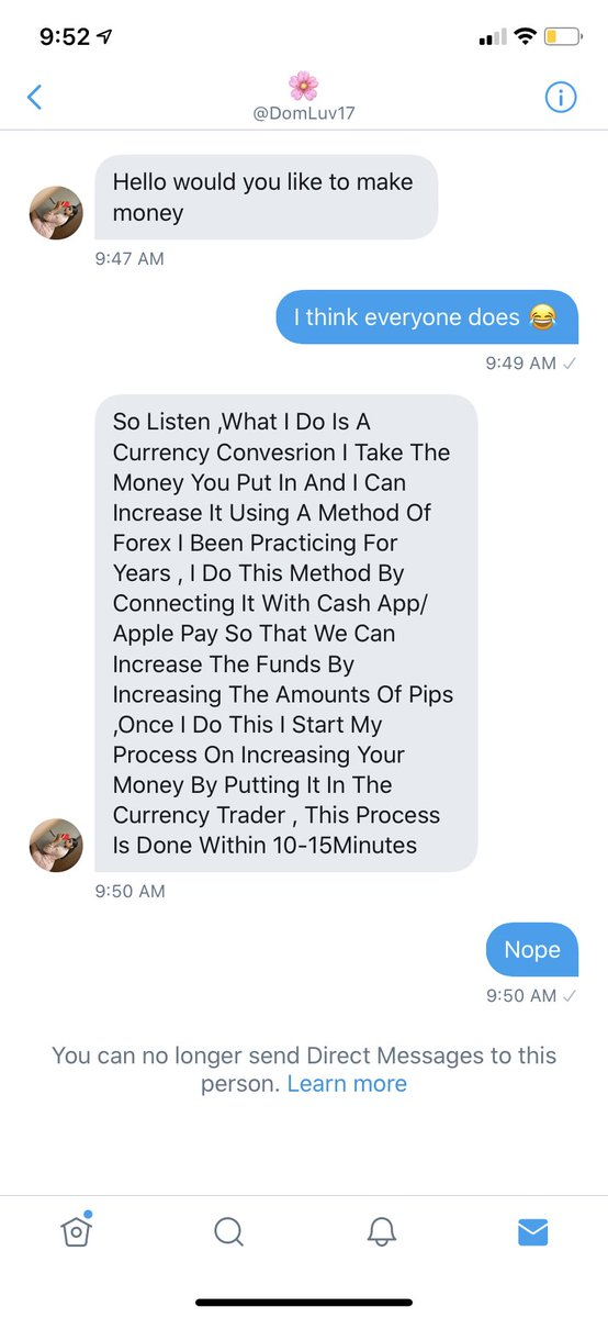 Really just wanted to see what scam she was running. Cut her off before she could finish typing . Don't fall for this dumb shit y'all.pic.twitter.com/qBJHNoTD7x