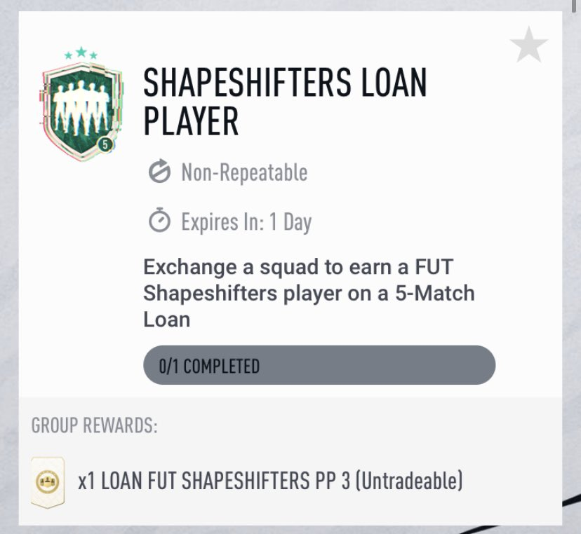 This promo isn't off to a hot start that's for sure. Overpriced Olaza SBC, pack supply SBC and a loan SBC. Loan Shapeshifter is cool, for being able to try cards. That's about it.