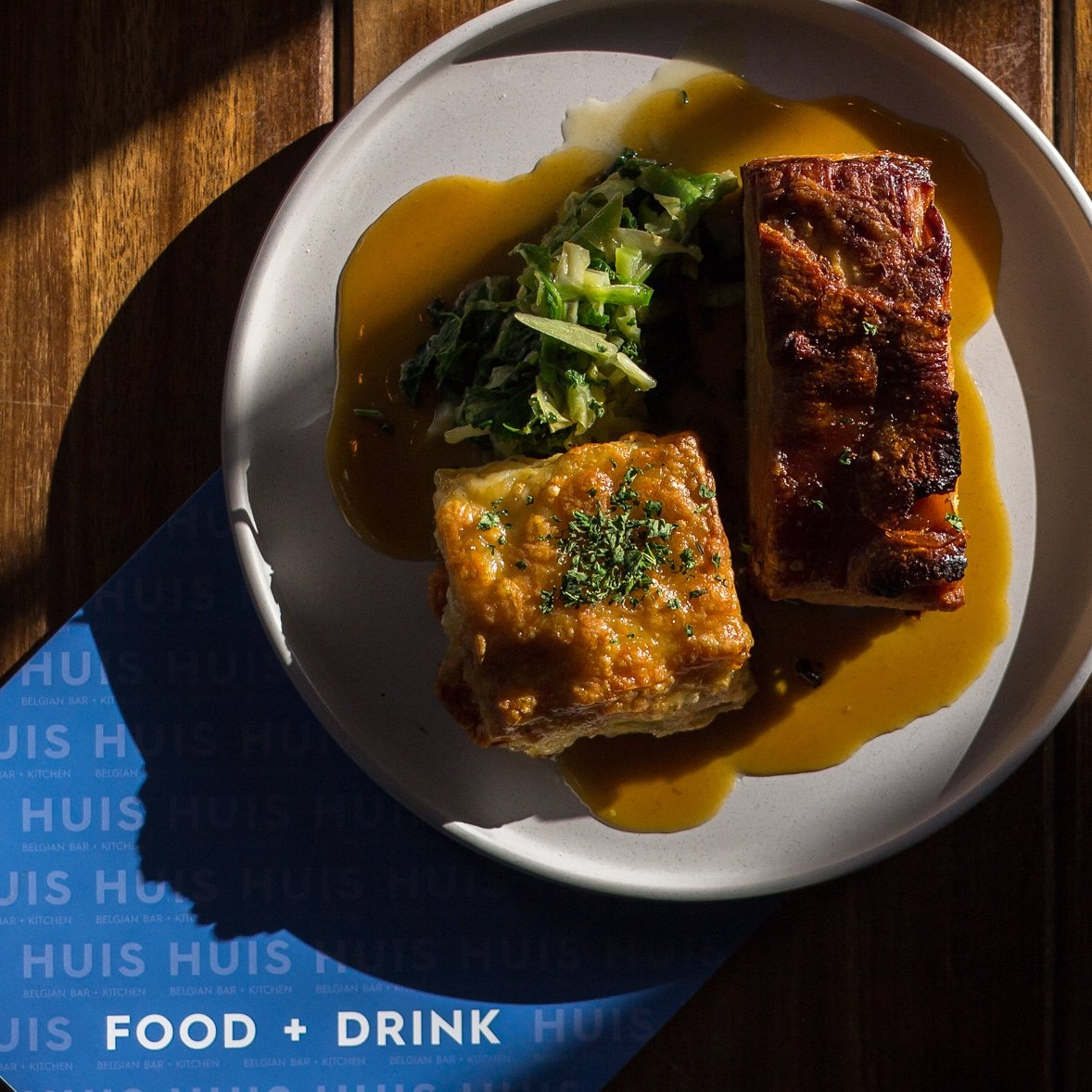 """UPGRADE YOUR ROAST? """"COOKED IN APPLE BEER"""" PORK BELLY WITH TRUFFLED POTATO DAUPHINOISE - SERVED DAILY @lindemansbeers #porkbelly #lindemansbeer #cookingwithbeer #eatingout #belgianfood #hampshire #portsmouth #southsea #huissouthsea"""
