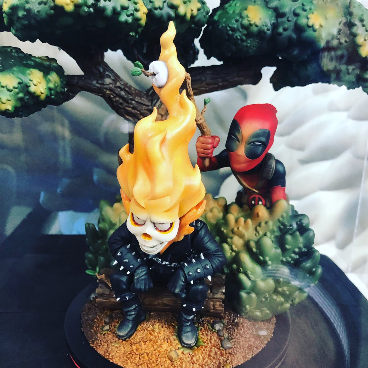 Mmm, toasted marshmallows. You can almost smell 'em. #toyfair #deadpool #ghostrider #marvel