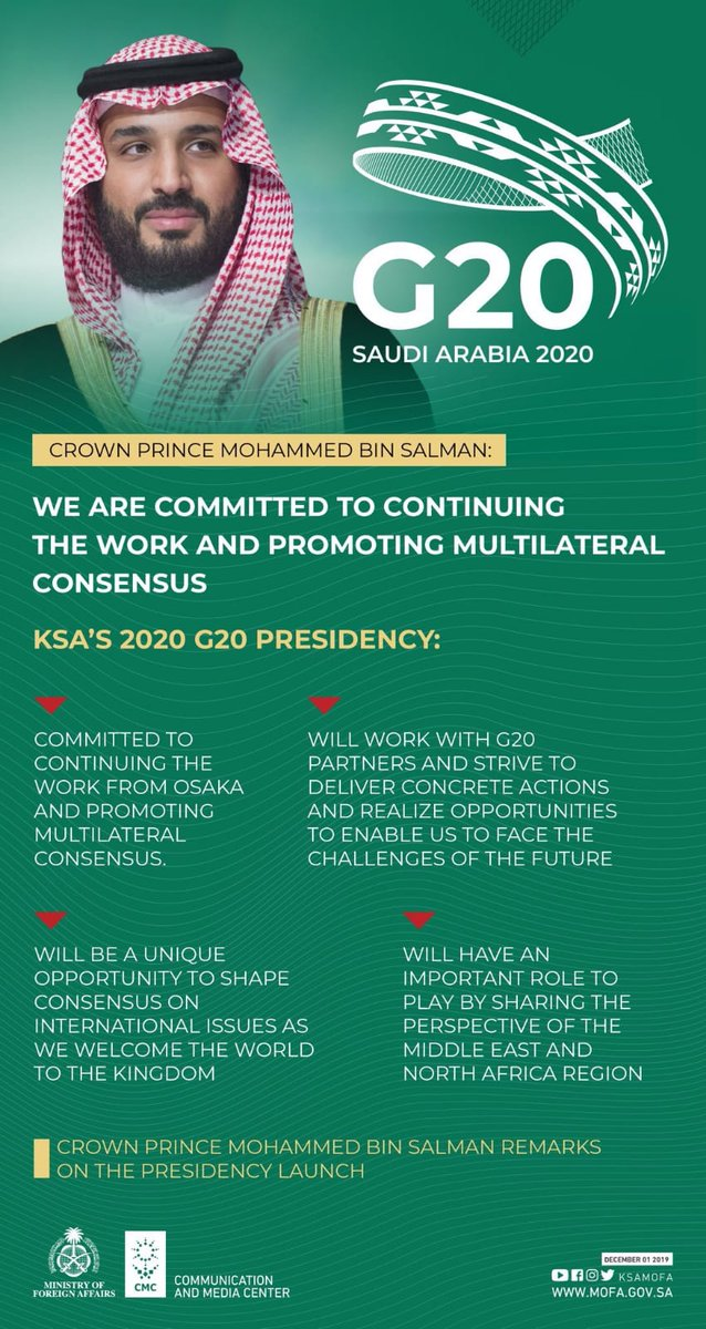 """Qatar is spreading hate and using its various platforms to promote such rhetoric,It must alter its behaviour and cease supporting terrorism #MBS #G20 """"will work with G20 partner & strive to deliver concrete action & realize opportunities to enable us to face the future """"pic.twitter.com/tW9bfDCE9f"""