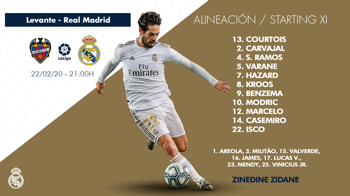 📝✅ Our starting XI against @LevanteUDen! #LevanteRealMadrid | #HalaMadrid