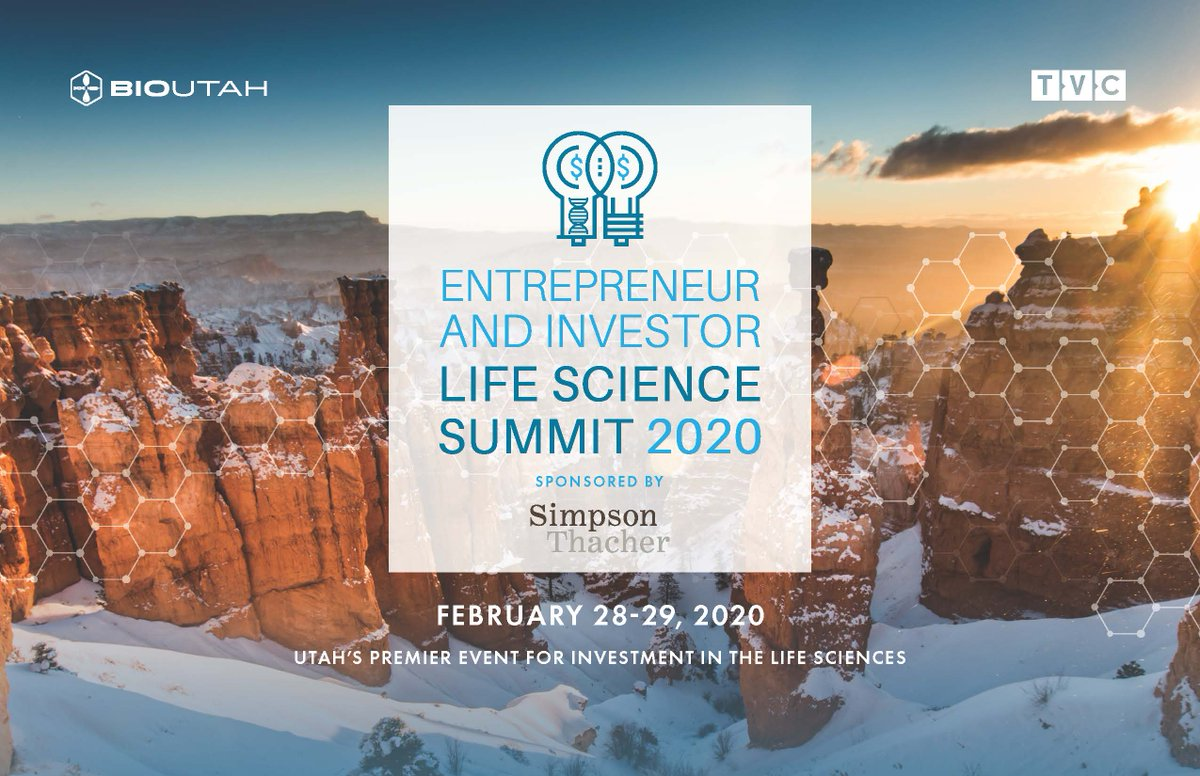 Join us for the Entrepreneur & Life Science Summit 2020 at the @Uutah Alumni House on Feb 28-29, Utah's Premier Event for Investment in the Life Sciences!  #EISummit2020 https://eilifesciencessummit.org pic.twitter.com/XGSjazuvUs