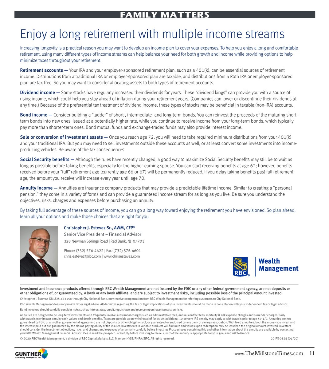 Enjoy a long retirement with tips from @RBCwealth 's article in The Millstone Times, http://ow.ly/6ziC50ysunV . For additional information on how multiple income streams can bolster your second life, visit http://www.ChrisEstevez.com  #retirement #investments #finances #SecondLifepic.twitter.com/ivA5zLtUEN