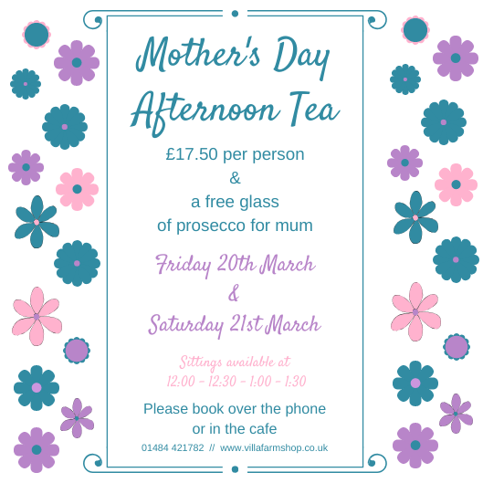 * #MOTHERSDAY #AFTERNOONTEA *  Book a special Afternoon Tea on #Friday 20th or #Saturday 21st #March and all mums get a #free glass of #prosecco. Ring us on 01484 421782 to book.  #event #offer #gift #giftideas #booknow #OldForgeCafe #VillaFarmShop #Bradley #Huddersfield