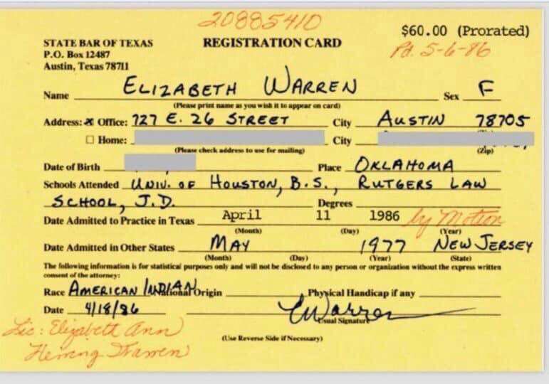 THIS IS ALL TRUMP NEEDS TO EXPOSE WARREN AS A FRAUD! Her family never told her she was 100% American Indian. But that's what she said on her applications. Nowhere does she indicate her race includes part Caucasian. She let Harvard advertise her as their first WOMAN OF COLOR! pic.twitter.com/oD8PexEitu
