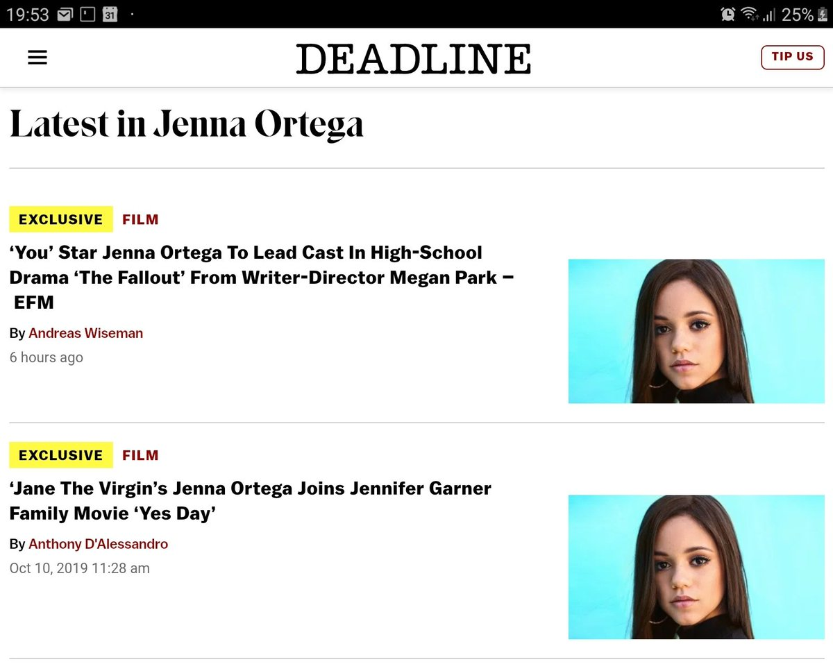 Screenshot of the website of Deadline showing the tagged articles for Jenna Ortega, with twice the same photo.