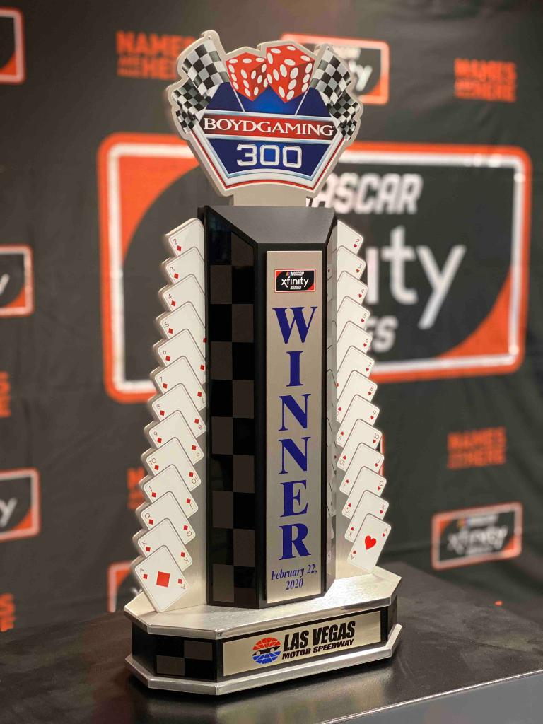 We're minutes away from the start of the 2020 Official Driver Meeting of the Boyd Gaming 300! Who do you think will go home with this trophy?! https://t.co/06Ix6Q5wFY
