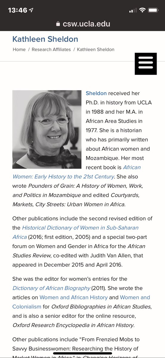 American writer Kathleen Sheldon, spews lies about Africa. This is what happens when the Caucasian West writes our stories for us. Okot.P Bitek is Ugandan, so is his poem #Song_Of_Lawino. These ill researched works are published while African Writers & African truths are shunned.pic.twitter.com/UEaEh80Dql