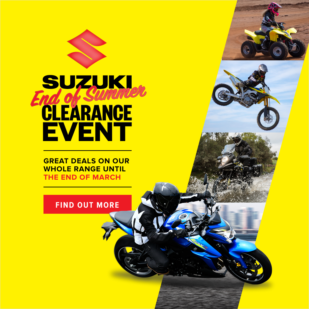 Suzuki End of Summer Clearance Event Now On! . Great deals on our whole range until the end of March! .  https:// soo.nr/A8lE     . #suzuki #endofsummer #clearance #event #roadbikes #sportsbike #dirtbikes #kidsbikes #sunstatemc #therideofyourlife<br>http://pic.twitter.com/JniLlJhsPQ